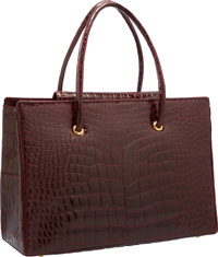"""Judith Leiber Burgundy Alligator Tote Bag with Gold Hardware Excellent Condition 16"""" Width x 11"""""""
