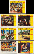 "Movie Posters:Adventure, Sign of the Pagan (Universal International, 1954). Title Lobby Card& Lobby Cards (6) (11"" X 14""). Adventure.. ... (Total: 7 Items)"