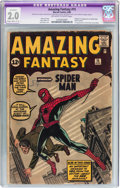 Silver Age (1956-1969):Superhero, Amazing Fantasy #15 (Marvel, 1962) CGC Apparent GD 2.0Slight/Moderate (C-2) Off-white to white pages....