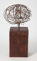 Post-War & Contemporary, Richard Takao Okuda (American, 20th Century). Wire Orb,circa 1960. Steel, wood. 8-1/4 inches high (21.0 cm) on a 8-5/8 ...