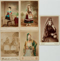 Photography:Cabinet Photos, [Costume, Photography]. Group of Five Cabinet Cards DepictingNative Costume. Undated circa 1890. ...