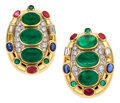 Estate Jewelry:Earrings, Diamond, Multi-Stone, Platinum, Gold Earrings, David Webb. ...