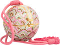 "Luxury Accessories:Accessories, Judith Leiber Full Bead Pink & Green Crystal Sphere MinaudiereEvening Bag. Very Good to Excellent Condition. 3.5""Wid..."