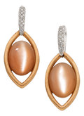 Estate Jewelry:Earrings, Moonstone, Diamond, Pink Gold Earrings, Zydo. ...