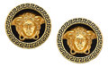 Estate Jewelry:Earrings, Enamel, Gold Earrings, Versace. ...