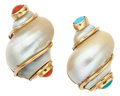 Estate Jewelry:Earrings, Shell, Coral, Turquoise, Gold Earrings, Seaman Schepps. ...