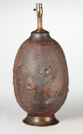 Ceramics & Porcelain, American:Contemporary   (1950 to present)  , David Cressey (American, 1916-2013). Earthen Lamp Base. Ceramic, wood. 20 inches high (50.8 cm) (without mounting hardwa...