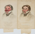 "Miscellaneous:Ephemera, [Political Cartoons]. David Claypoole Johnston, artist (1798 -1865). Pair of Transformational Envelopes Depicting ""Jonathan S..."