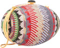 "Luxury Accessories:Accessories, Judith Leiber Full Bead Multicolor Crystal Egg Minaudiere EveningBag. Very Good to Excellent Condition. 6"" Width x4""..."