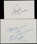 Boxing Collectibles:Autographs, Muhammad Ali and Angelo Dundee Signed Index Cards (2)....