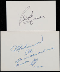 Muhammad Ali and Angelo Dundee Signed Index Cards (2)