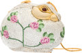 """Luxury Accessories:Bags, Judith Leiber Full Bead Pink & Green Crystal Floral RabbitMinaudiere Evening Bag. Very Good Condition. 6"""" Width x4.5..."""