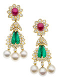 Estate Jewelry:Earrings, Emerald, Ruby, Diamond, Cultured Pearl, Gold Earrings, David Webb. ...