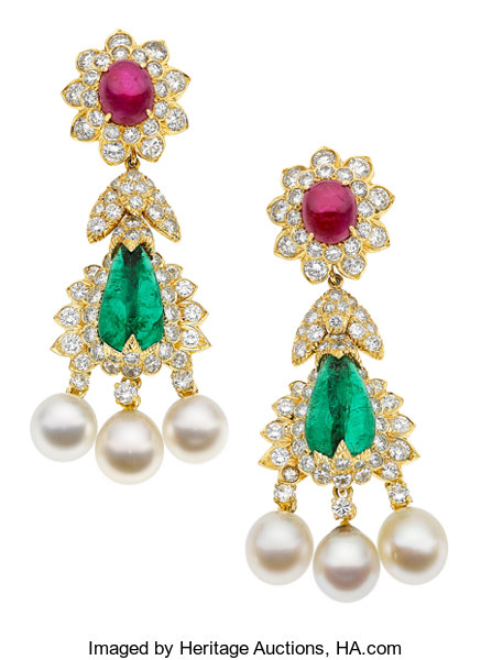 Estate Jewelry Earrings Emerald Ruby Diamond Cultured Pearl Gold