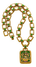 Estate Jewelry:Necklaces, Diamond, Ruby, Enamel, Gold Pendant-Necklace, Cazzaniga. ...