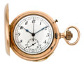 Timepieces:Pocket (pre 1900) , Swiss Rose Gold Minute Repeater With Chronograph, circa 1895. ...