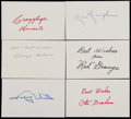 Football Collectibles:Others, Football Hall of Famers Signed Index Cards Lot of 6....