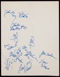Basketball Collectibles:Others, 1980s Philadelphia 76ers Multi Signed Cardboard Sheet/...