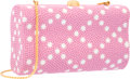 """Luxury Accessories:Accessories, Judith Leiber Full Bead Pink & White Crystal Rectangular Minaudiere Evening Bag. Excellent Condition. 5.5"""" Width x 3"""" ..."""
