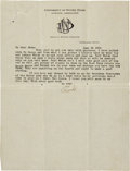Football Collectibles:Others, 1921 Knute Rockne Signed Letter on Personal Stationery with Rose Bowl Mention....