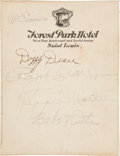 Baseball Collectibles:Others, 1930's Babe Ruth & Others Signed Parchment. ...