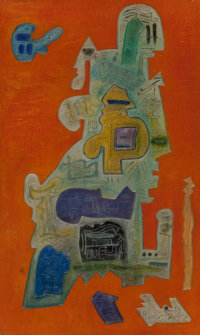 Ynez Johnston (American, 1920) Tropical Interior, 1970 Mixed media relief 40 x 24 inches (101.6 x