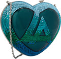 Luxury Accessories:Bags, Judith Leiber for Azzaro Limited Edition Half Bead Blue & GreenCrystal Heart Minaudiere Evening Bag. Very Good Condition...
