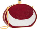 "Luxury Accessories:Accessories, Judith Leiber Full Bead Red & Silver Crystal Oval MinaudiereEvening Bag. Excellent Condition. 6"" Width x 4"" Height x..."