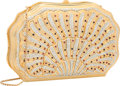 "Luxury Accessories:Bags, Judith Leiber Half Bead Gold & Silver Crystal Oyster MinaudiereEvening Bag. Very Good to Excellent Condition. 7""Widt..."