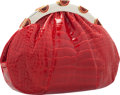 """Luxury Accessories:Accessories, Judith Leiber Shiny Red Alligator Evening Bag. Very Good to Excellent Condition. 10"""" Width x 6.5"""" Height x 1.5"""" Depth..."""