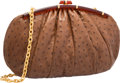 "Luxury Accessories:Bags, Judith Leiber Brown Ostrich Shoulder Bag. ExcellentCondition. 15"" Width x 8.5"" Height x 3.5"" Depth. ..."