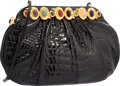 "Luxury Accessories:Accessories, Judith Leiber Shiny Black Alligator Evening Bag. Very GoodCondition. 10.5"" Width x 6"" Height x 4"" Depth. ..."