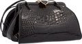 """Luxury Accessories:Bags, Judith Leiber Shiny Black Alligator Evening Bag. Very Good toExcellent Condition. 7"""" Width x 4"""" Height x 6"""" Depth...."""