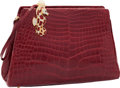 "Luxury Accessories:Accessories, Judith Leiber Red Alligator Evening Bag with Crystal SeahorseClasp. Excellent Condition. 8"" Width x 6"" Height x 2""De..."