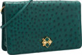 "Luxury Accessories:Bags, Judith Leiber Green Ostrich Evening Bag. ExcellentCondition. 10"" Width x 6"" Height x 2.5"" Depth. ..."