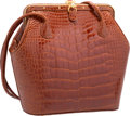 "Luxury Accessories:Bags, Judith Leiber Shiny Brown Alligator Shoulder Bag. Very Good toExcellent Condition. 9"" Width x 10"" Height x 3.5""Depth..."