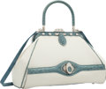 """Luxury Accessories:Bags, Judith Leiber Shiny Blue Alligator & White Canvas Top HandleBag. Very Good to Excellent Condition. 11.5"""" Width x7.5""""..."""