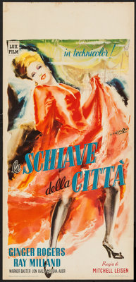 "Lady in the Dark (Lux Film, 1949). First Post-War Release Italian Locandina (13"" X 27.5""). Comedy"
