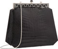 "Luxury Accessories:Accessories, Judith Leiber Black Alligator Clutch Bag with Silver Hardware .Excellent Condition. 7"" Width x 6.5"" Height x 1.5""Dep..."