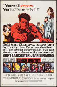 "Elmer Gantry (United Artists, 1960). One Sheet (27"" X 41""). Drama"