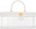 "Luxury Accessories:Accessories, Judith Leiber White Leather & Acrylic Top Handle Bag . GoodCondition. 8"" Width x 3.5"" Height x 3.5"" Width. ..."