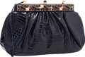 """Luxury Accessories:Accessories, Judith Leiber Shiny Navy Blue Alligator Evening Bag. Very Good to Excellent Condition. 11"""" Width x 7"""" Height x 2"""" Dept..."""
