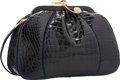 """Luxury Accessories:Bags, Judith Leiber Shiny Navy Blue Alligator Evening Bag. Very Goodto Excellent Condition. 9"""" Width x 6"""" Height x 3""""Depth..."""