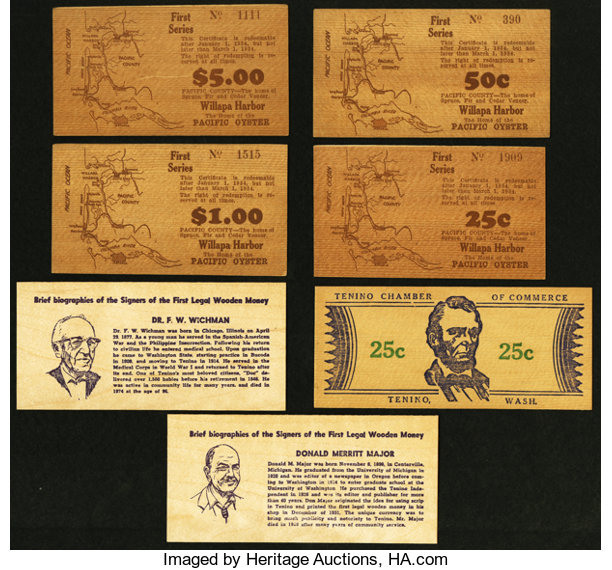 Wooden Money From Washington State Total 7 Notes Lot