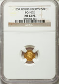 California Fractional Gold: , 1859 50C Liberty Round 50 Cents, BG-1002, High R.4, MS62 ProoflikeNGC. NGC Census: (1/5). ...