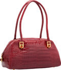 "Luxury Accessories:Bags, Judith Leiber Shiny Red Alligator Shoulder Bag. Good to VeryGood Condition. 11.5"" Width x 6"" Height x 5"" Depth. ..."