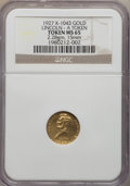 U.S. Presidents & Statesmen, 1927 Lincoln - A Token MS65 NGC. King-1043, DeLorey-48,Cunningham-10-350X. Gold, 15mm. 2.28 gm....