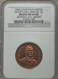 U.S. Presidents & Statesmen, 1868 U.S. Grant Campaign Medal MS64 Red and Brown NGC.DeWitt-USG-1868-30. Copper....