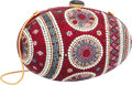 "Luxury Accessories:Bags, Judith Leiber Full Bead Red & Pink Crystal Egg MinaudiereEvening Bag. Good Condition. 6"" Width x 3.5"" Height x3.5"" D..."