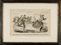 Books:Prints & Leaves, [Civil War, Political Cartoons]. Framed Currier & Ives PrintDepicting the Capture of Jefferson Davis Entitled, TheLast...